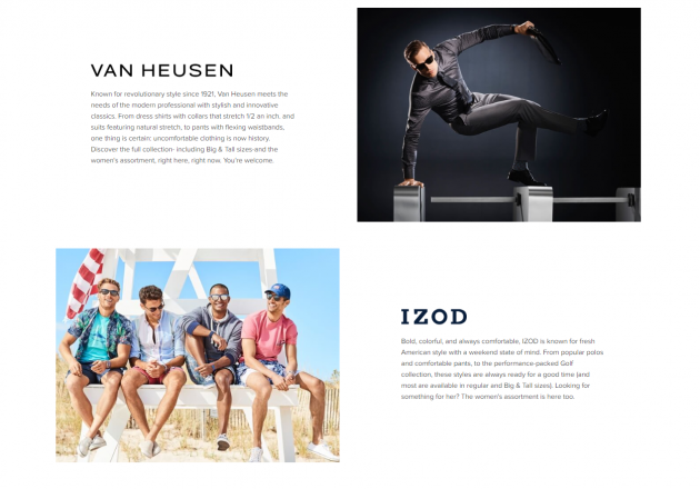VAN HEUSEN- wordpress sites 2018