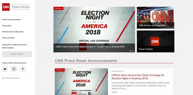 CNN Press Room- Big Brands using WordPress