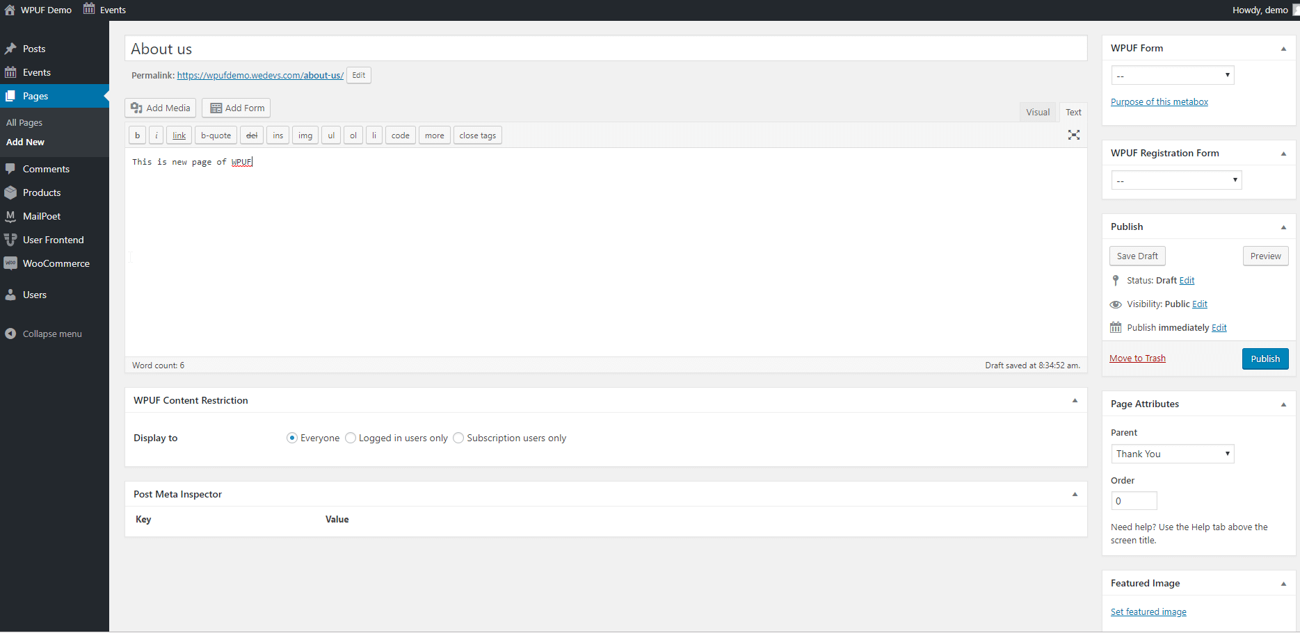 User frontend- Pages
