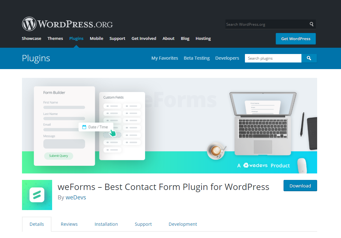 weForms- create e-commerce website using WordPress