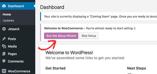 setup wizard- create e-commerce website using WordPress