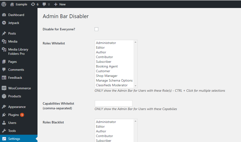 Dashboard -WordPress user admin toolbar