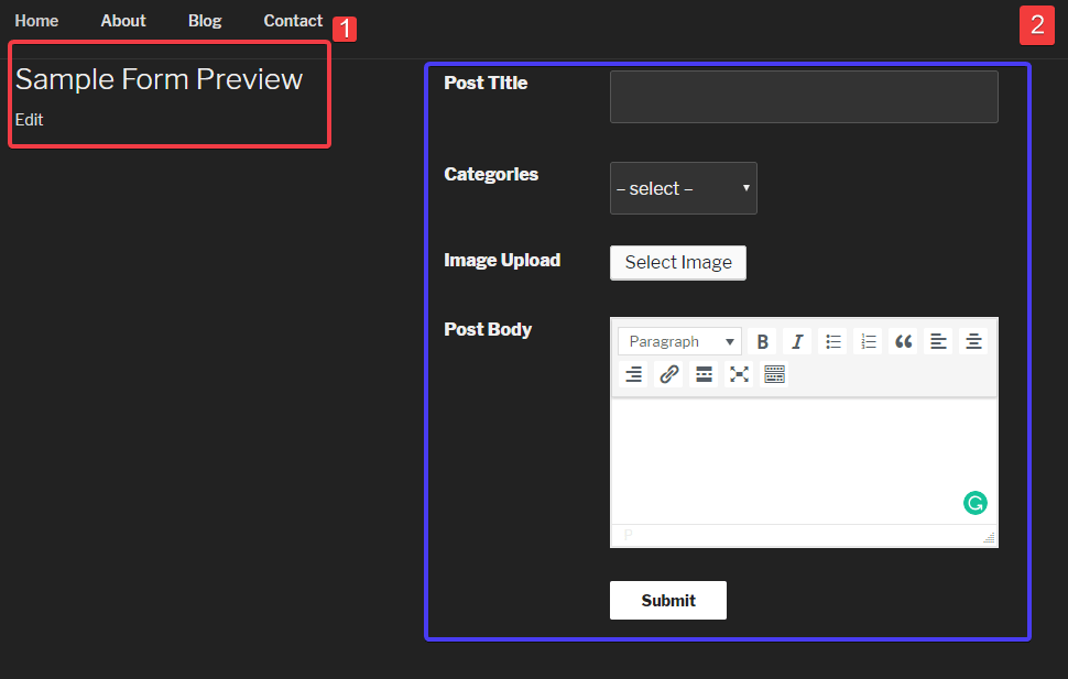 form preview- allow users to submit posts