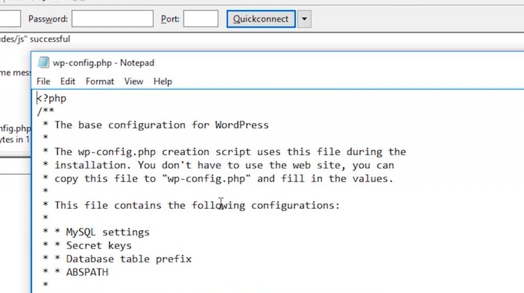 wp config text editor