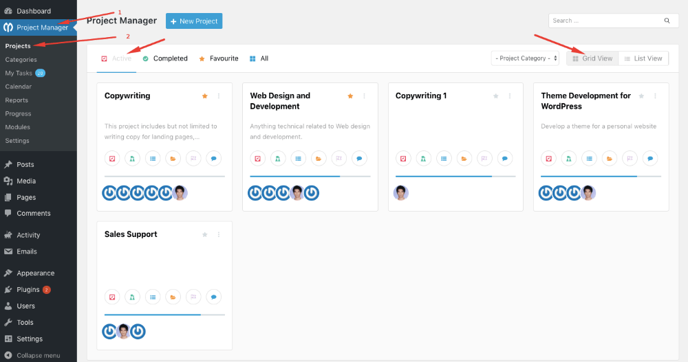 WP Project Manager Dashboard