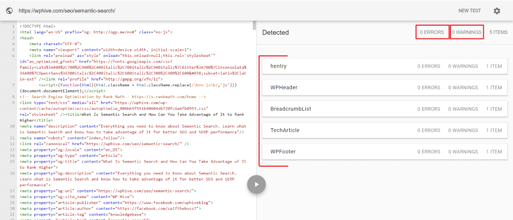 WordPress Schema Structured Data Testing Tool