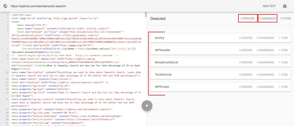 WordPress Schema Structured Data Testing Tool