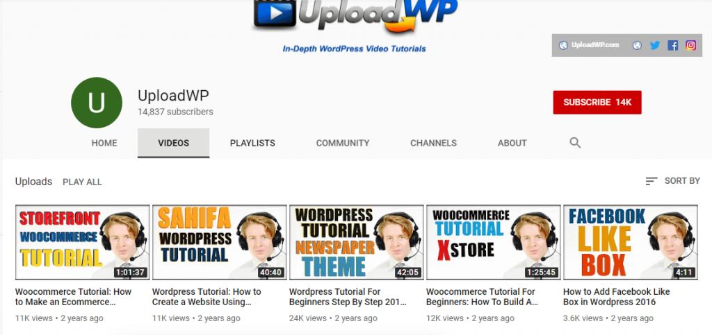 UploadWP YouTube channel