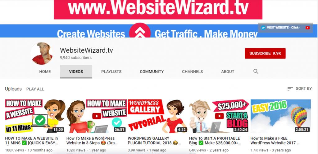 WebsiteWizard.tv YouTube channel