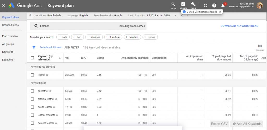 Google Keyword Planner Customization Preferences