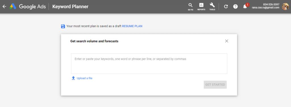 Google Keyword Planner Enter Word