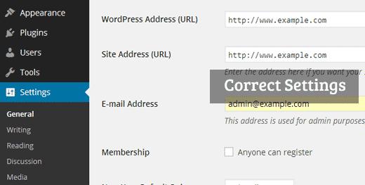 Correct WP URL Settings