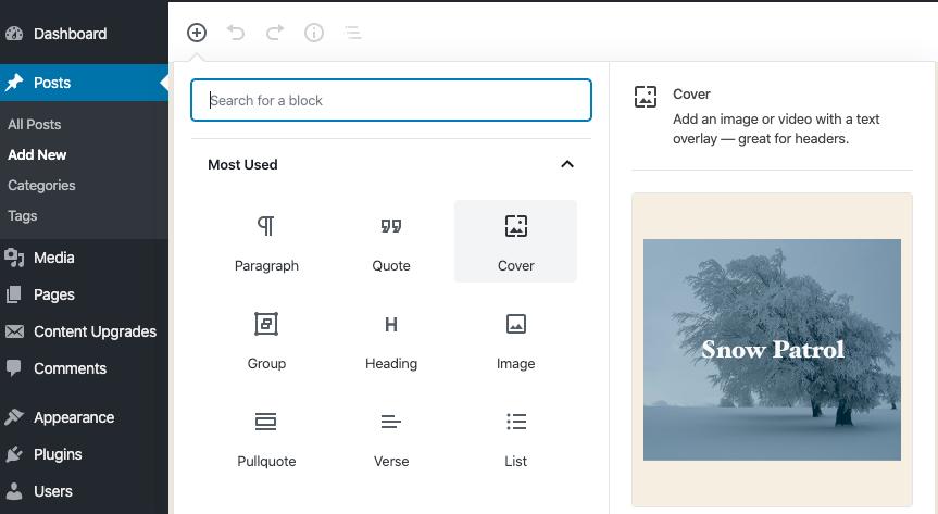 WordPress Block Previews