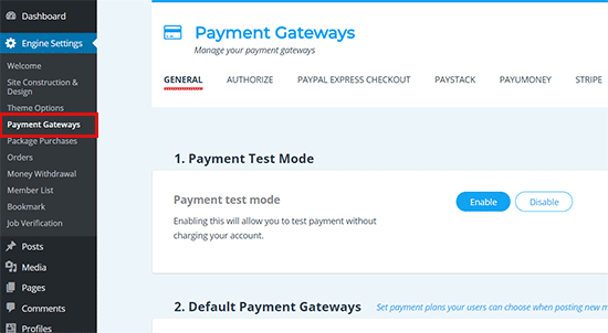 Payment Gateways Set up