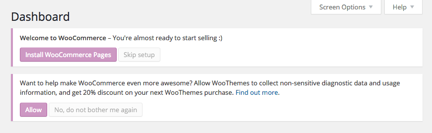 WooCommerce Installation Message
