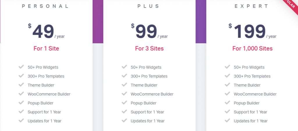 Elementor Pricing Plan