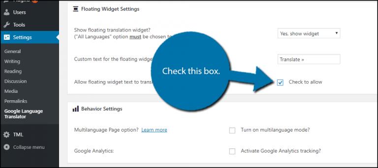 Floating Widget Settings