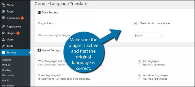 Google Translator Checkbox to Active Plugin
