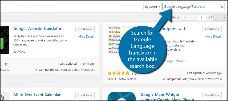 Search for Google Translator