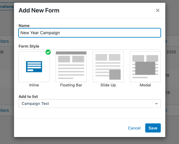 weMail opt-in forms