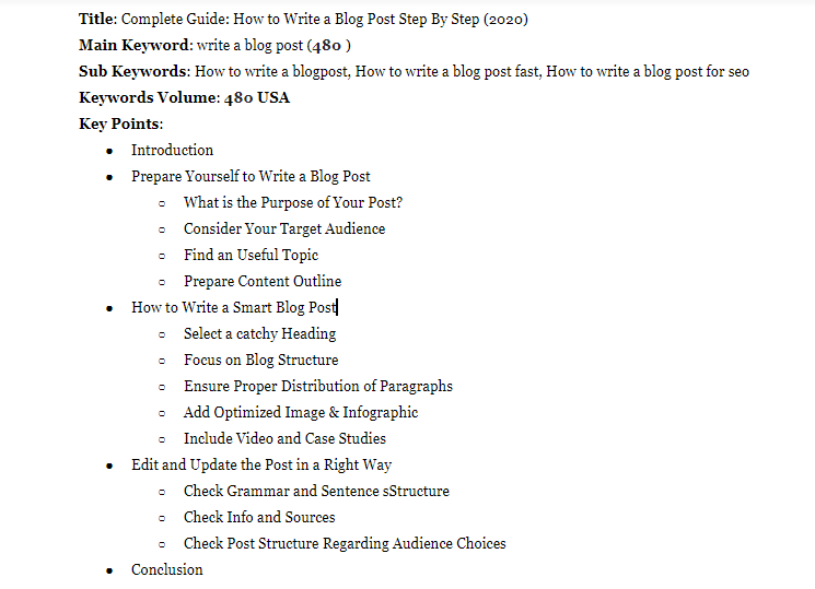 create content outline to write a blog post