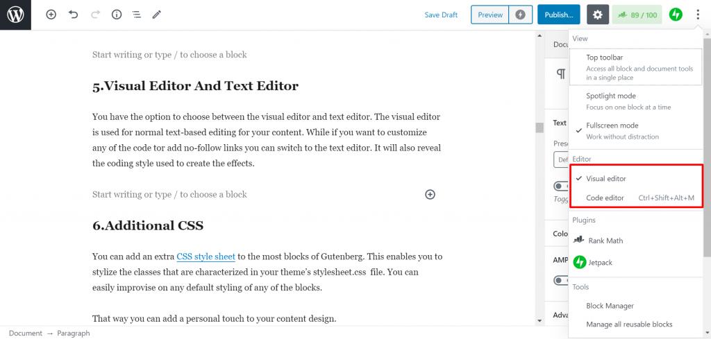 visual and code editor