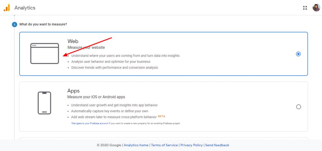 Create Google analytics account 2