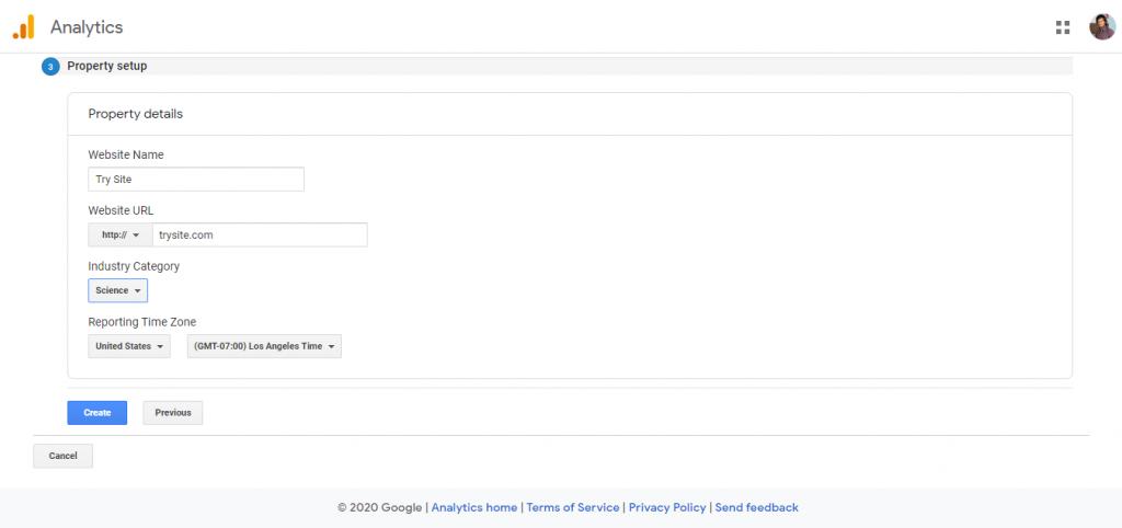 Create Google analytics account 3