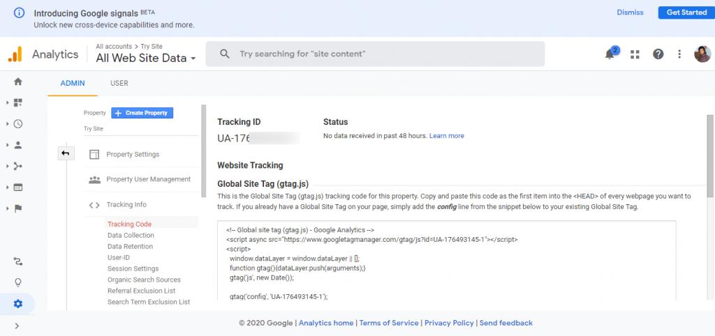 Create Google analytics account 4