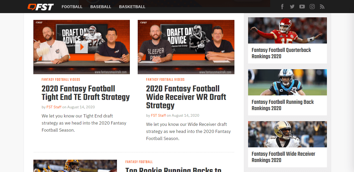 sports blog made with WordPress