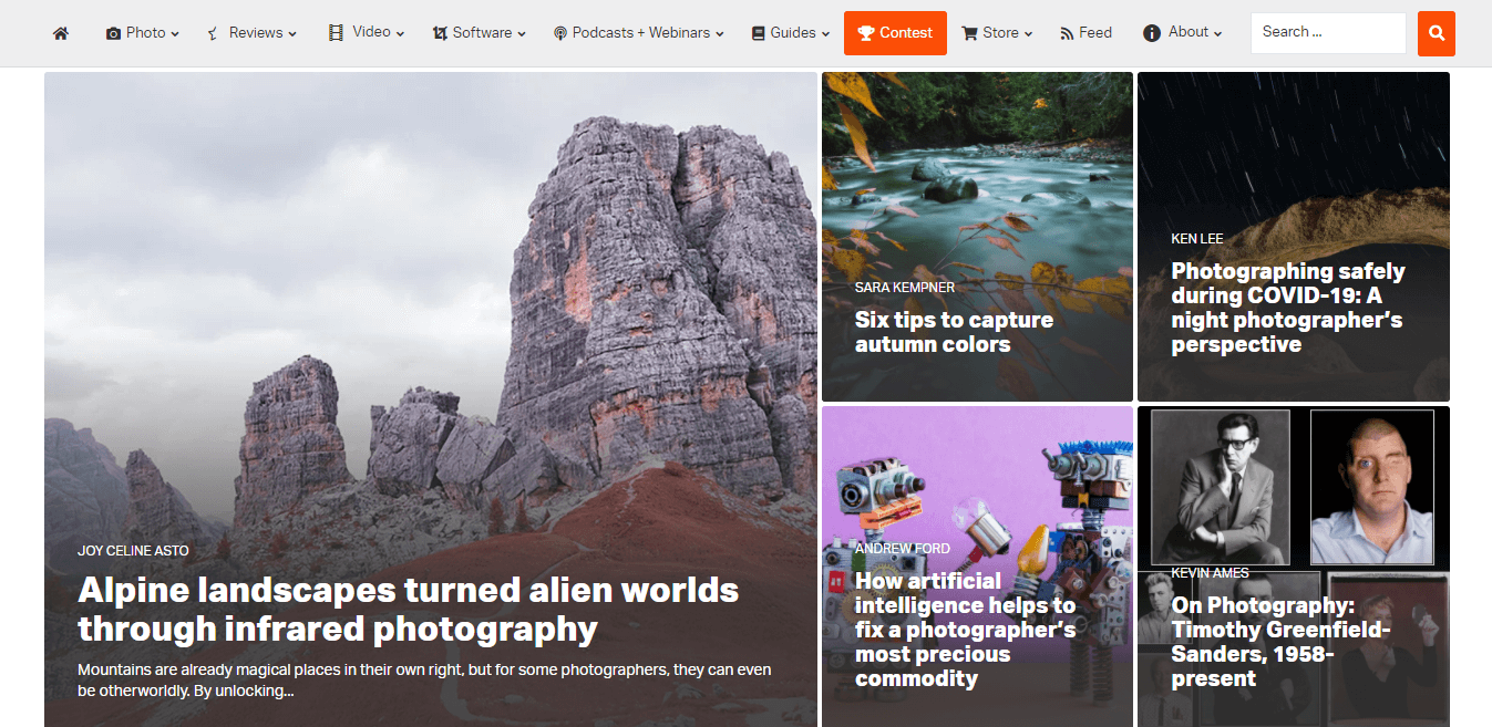 Example of a WordPress photography website