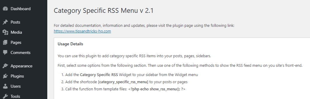 Category Specific RSS setting and usage