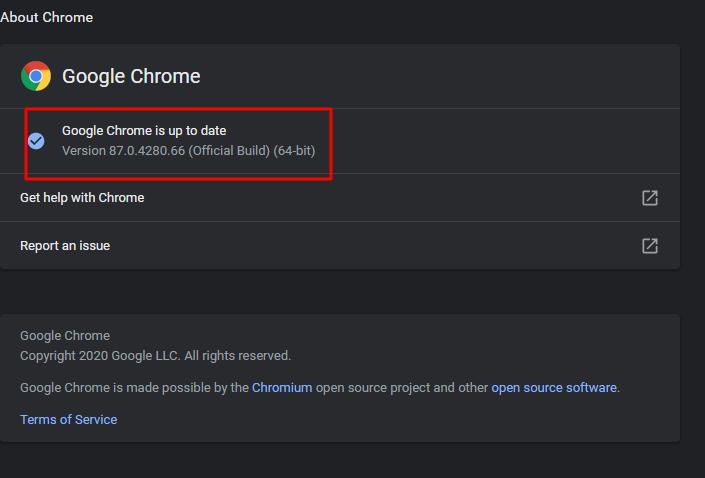 Chrome version
