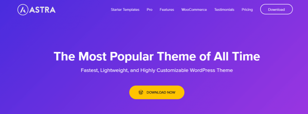 Astra business theme for WordPress website