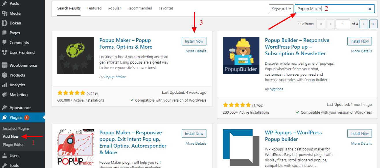Install Popup Maker plugin