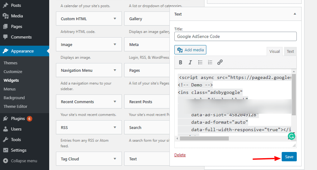 Insert the AdSense Code in sidebar