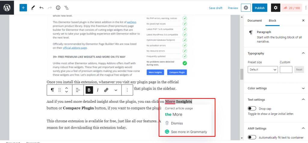 Grammarly WordPress Chrome Extension
