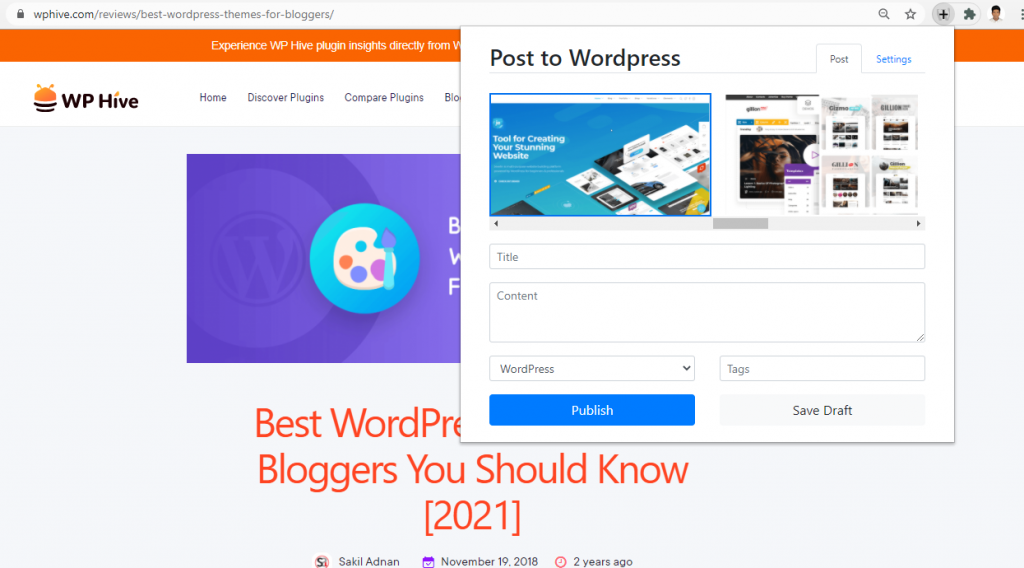 Post to WordPress Chrome Extension