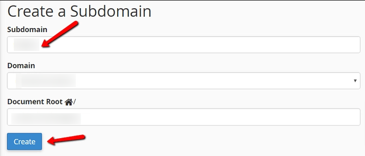 Fill up subdomain form