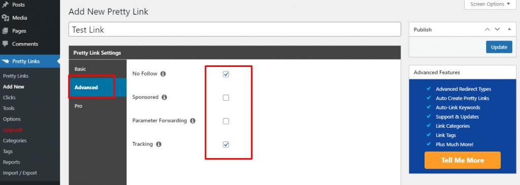 Advanced options of Pretty link lite plugin