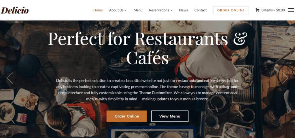 Delicio restaurant WordPress theme