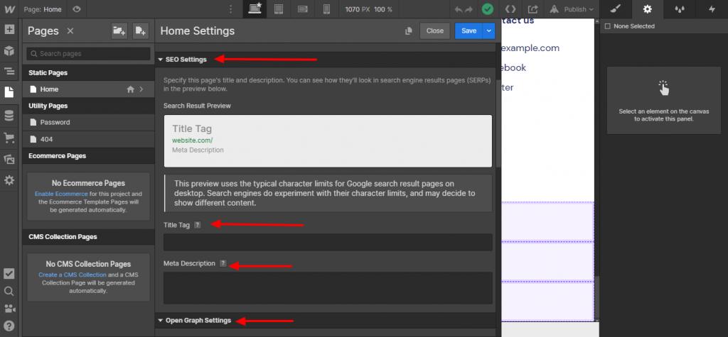 Webflow SEO settings