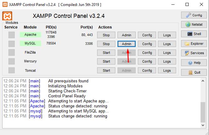 Access MySQL Admin from XAMPP
