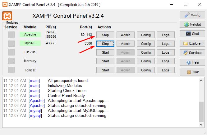 Starting Apache and MySQL on XAMPP