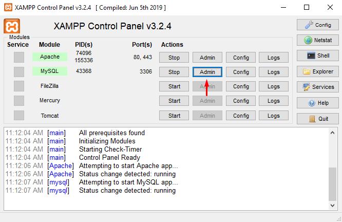 Accessing MySQL Admin from XAMPP