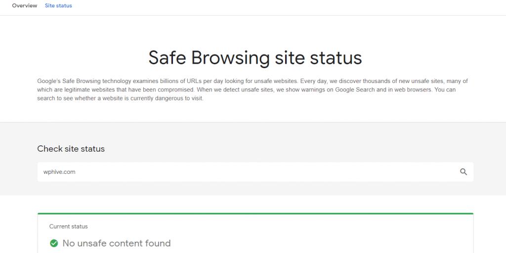 Google Safe Browsing Site Status