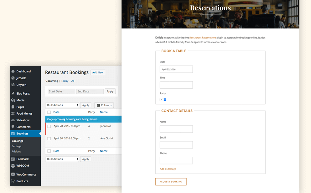 Delicio reservation page