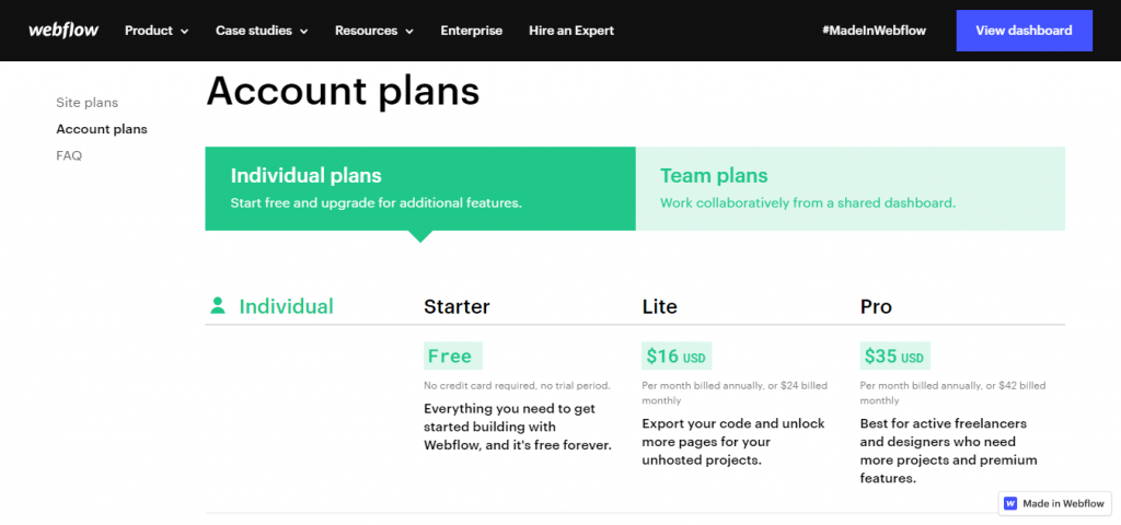 Account plan for Webflow
