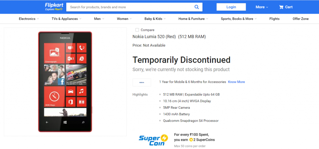 Lumia 520 Product Page on Flipkart
