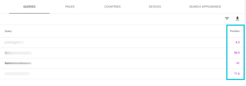 Google Search Console Position Tracking